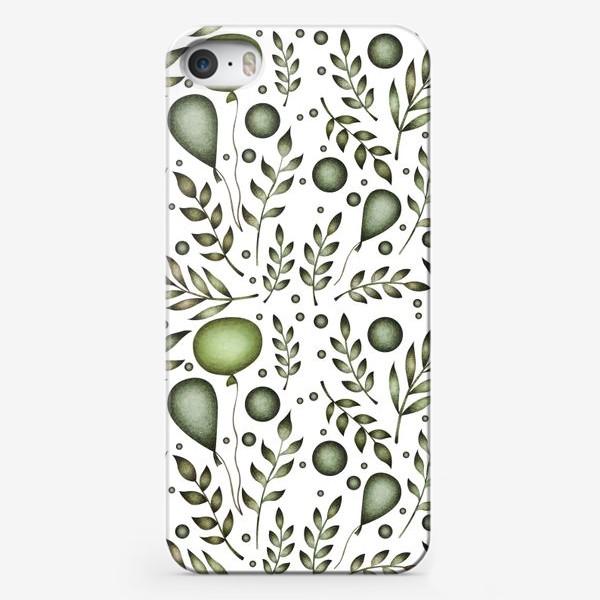 Чехол iPhone «Зеленый паттерн с ветками и воздушными шарами»