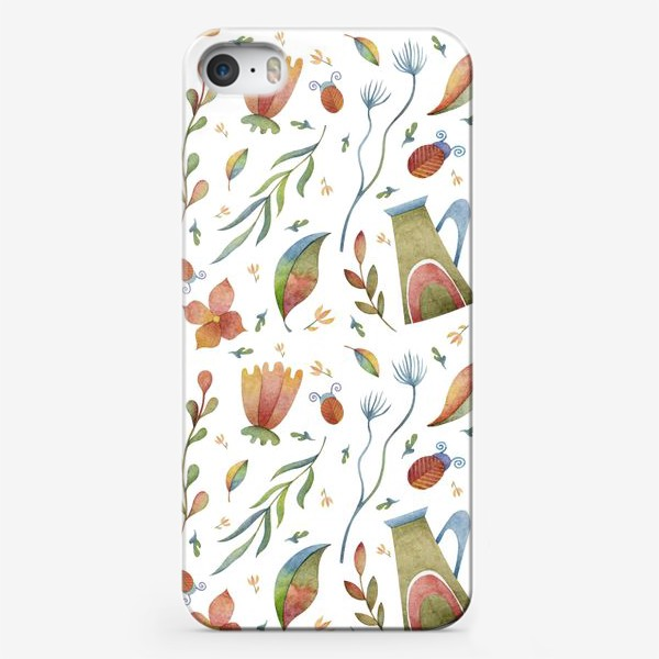 Чехол iPhone «Весенний паттерн с растениями, глиняными горшками и божьими коровками»