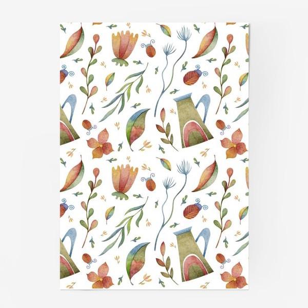 Постер «Весенний паттерн с растениями, глиняными горшками и божьими коровками»