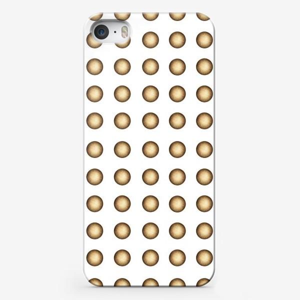 Чехол iPhone «Ретро фон, горчичные круги на белом»
