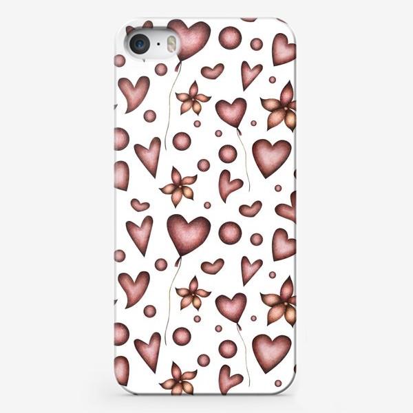Чехол iPhone «Праздничный паттерн с красными сердечками, цветами и шарами»