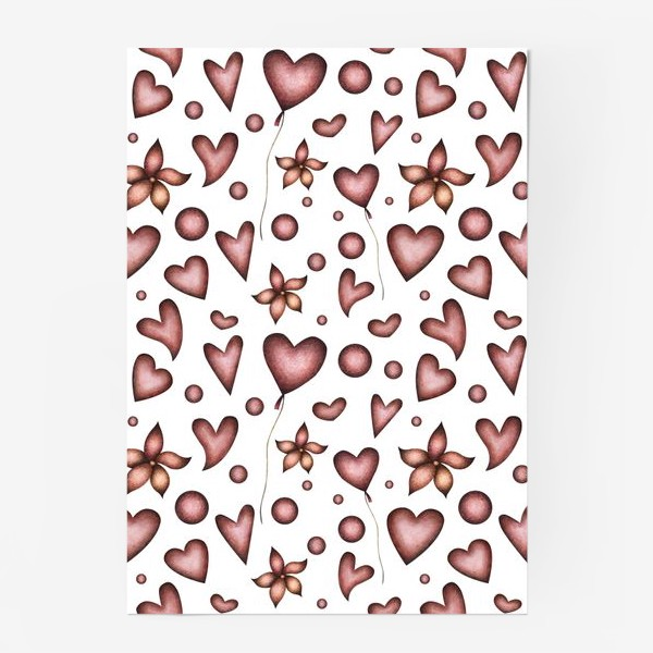 Постер «Праздничный паттерн с красными сердечками, цветами и шарами»