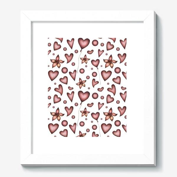 Картина «Праздничный паттерн с красными сердечками, цветами и шарами»