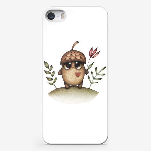 Чехол iPhone «Милый желудь с сердцем и цветком»