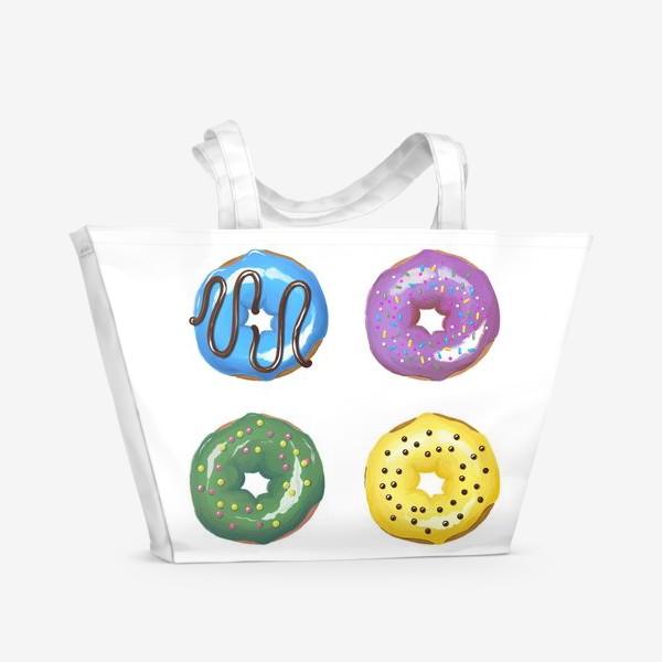 Пляжная сумка «цветные пончики»