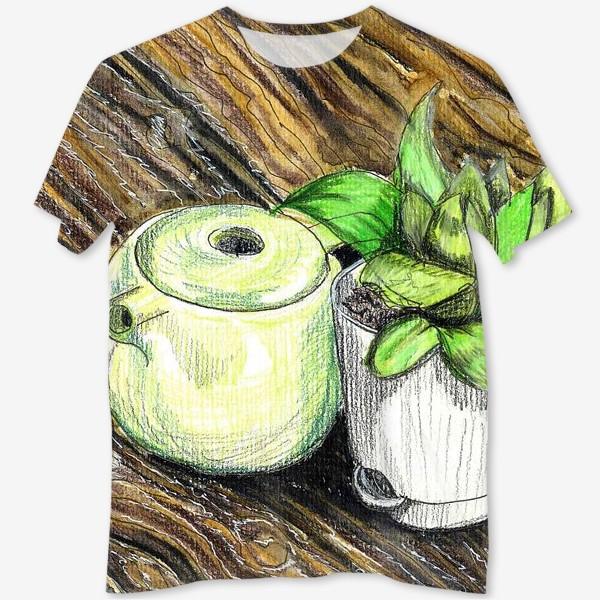 Футболка с полной запечаткой «Чайник и растение на деревянном столе. Акварельные карандаши.»