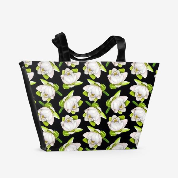 Пляжная сумка «Паттерн  лотос на черном фоне»