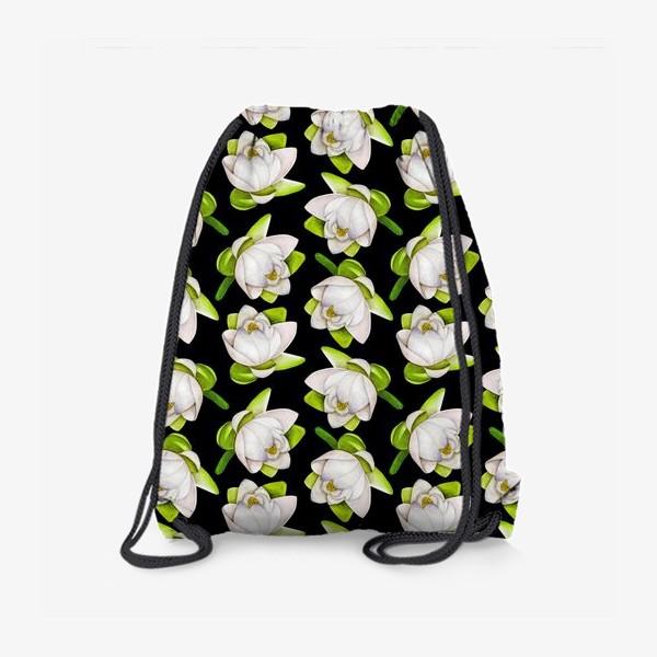 Рюкзак «Паттерн  лотос на черном фоне»