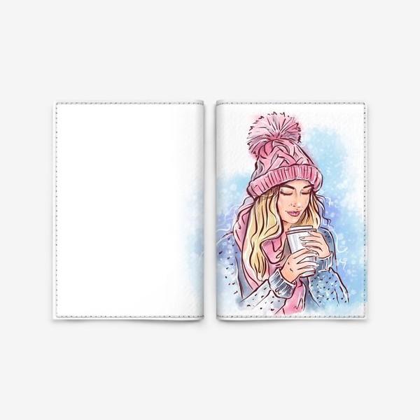 Обложка для паспорта «Девушка с кофе»