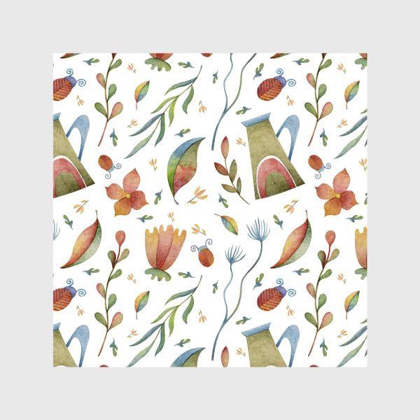 Шторы «Весенний паттерн с растениями, глиняными горшками и божьими коровками»