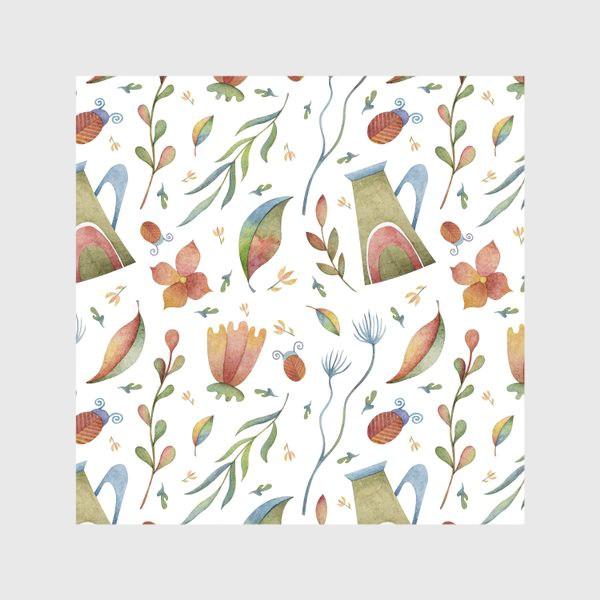 Скатерть «Весенний паттерн с растениями, глиняными горшками и божьими коровками»