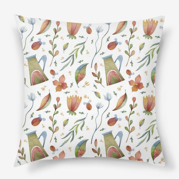 Подушка «Весенний паттерн с растениями, глиняными горшками и божьими коровками»