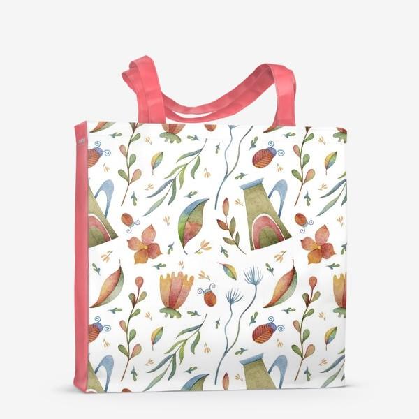 Сумка-шоппер «Весенний паттерн с растениями, глиняными горшками и божьими коровками»