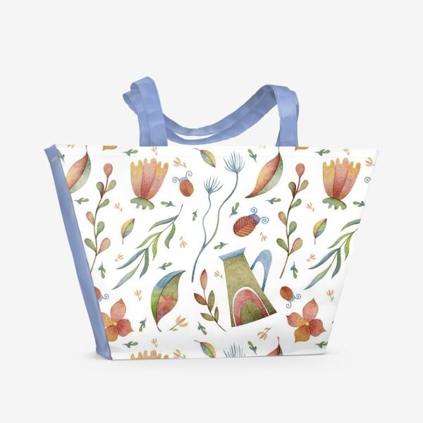 Пляжная сумка «Весенний паттерн с растениями, глиняными горшками и божьими коровками»