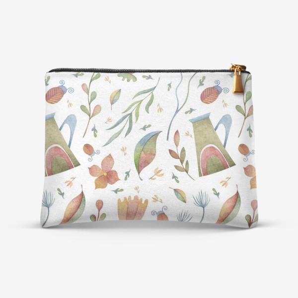 Косметичка «Весенний паттерн с растениями, глиняными горшками и божьими коровками»