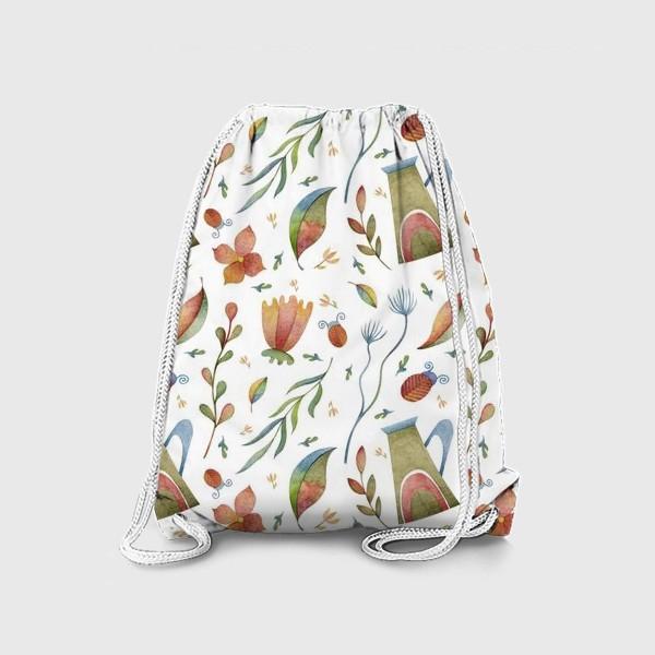 Рюкзак «Весенний паттерн с растениями, глиняными горшками и божьими коровками»
