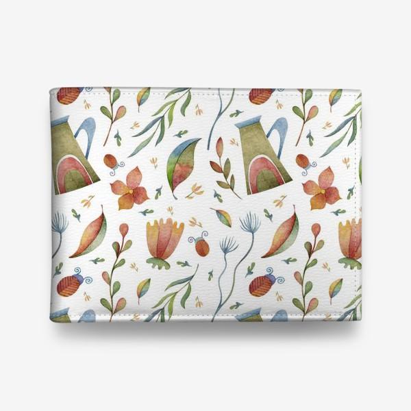 Кошелек «Весенний паттерн с растениями, глиняными горшками и божьими коровками»