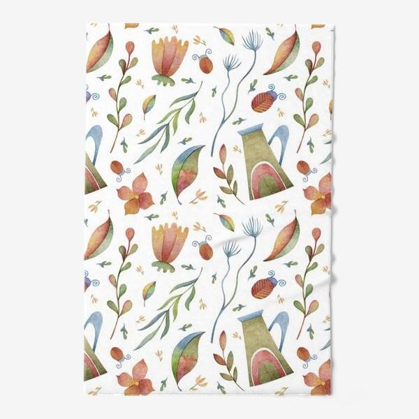 Полотенце «Весенний паттерн с растениями, глиняными горшками и божьими коровками»