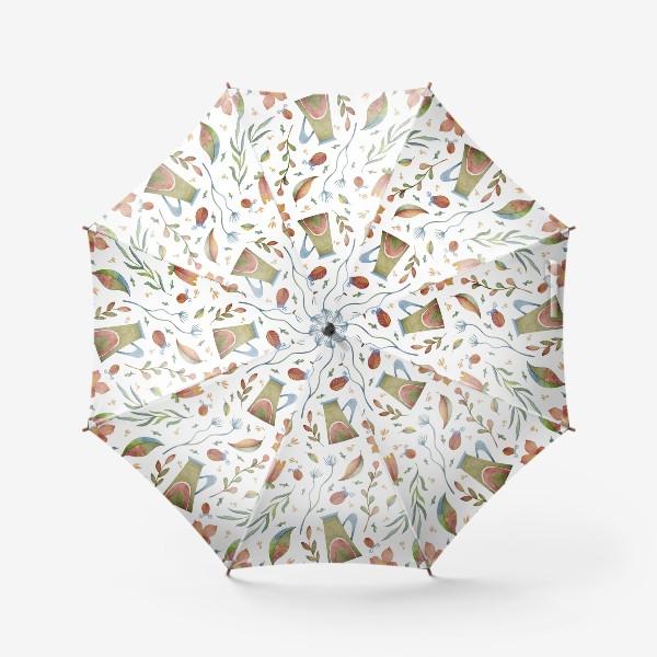 Зонт «Весенний паттерн с растениями, глиняными горшками и божьими коровками»