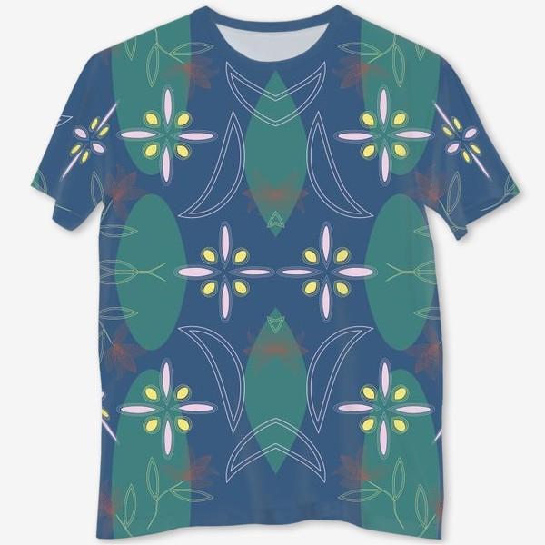 Футболка с полной запечаткой «abstract seamless floral pattern exotic shapes»