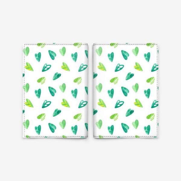 Обложка для паспорта «Яркий летний паттерн с тропическими листьями в форме сердец. Акварельная иллюстрация с экзотическими растениями.»