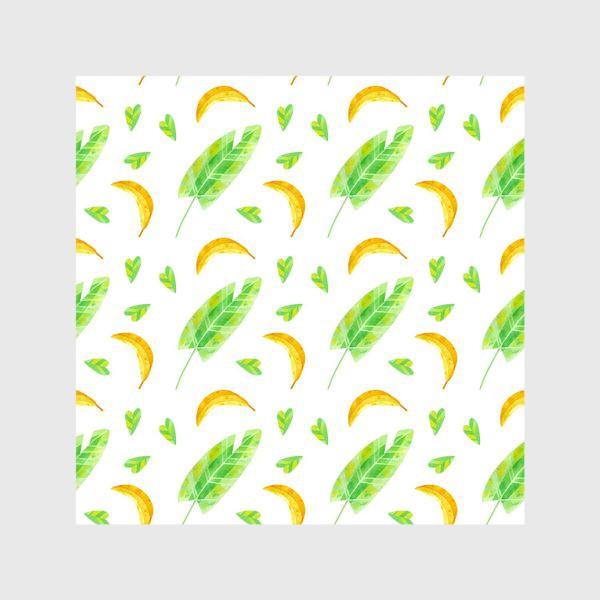 Шторы «Акварельная иллюстрация с бананами и банановыми листьями. Яркий летний принт с экзотическими растениями. »