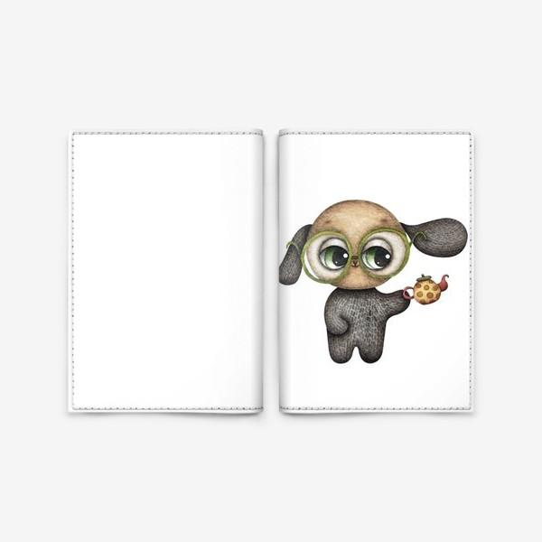 Обложка для паспорта «Щенок в очках с чайником в лапке»