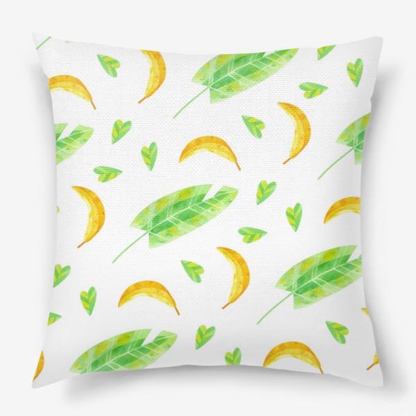 Подушка «Акварельная иллюстрация с бананами и банановыми листьями. Яркий летний принт с экзотическими растениями. »