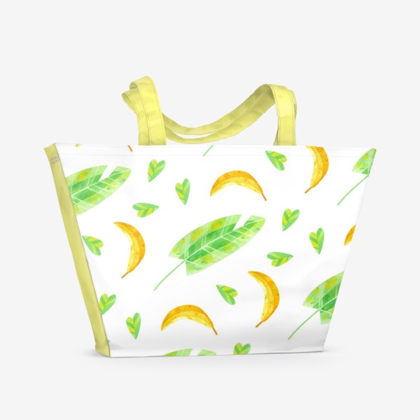Пляжная сумка «Акварельная иллюстрация с бананами и банановыми листьями. Яркий летний принт с экзотическими растениями. »