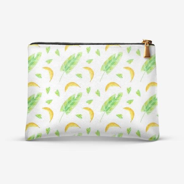 Косметичка «Акварельная иллюстрация с бананами и банановыми листьями. Яркий летний принт с экзотическими растениями. »