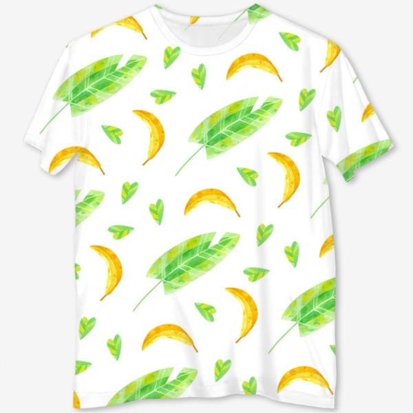 Футболка с полной запечаткой «Акварельная иллюстрация с бананами и банановыми листьями. Яркий летний принт с экзотическими растениями. »