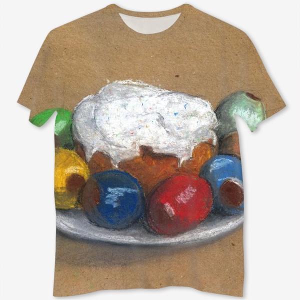 Футболка с полной запечаткой «Православная пасха. Пасха и крашенные яйца. Пастель. Крафт.»