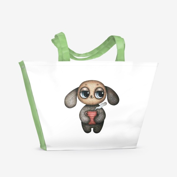 Пляжная сумка «Милый и смешной глазастик с кружкой чая»