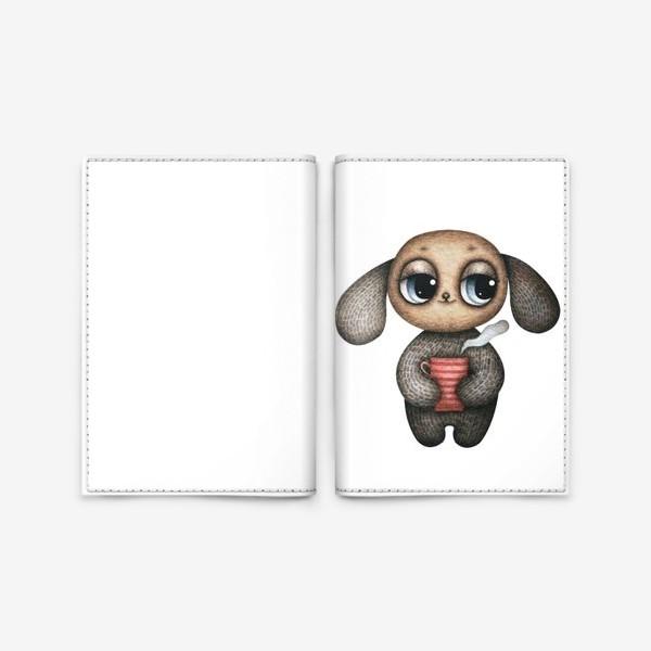 Обложка для паспорта «Милый и смешной глазастик с кружкой чая»