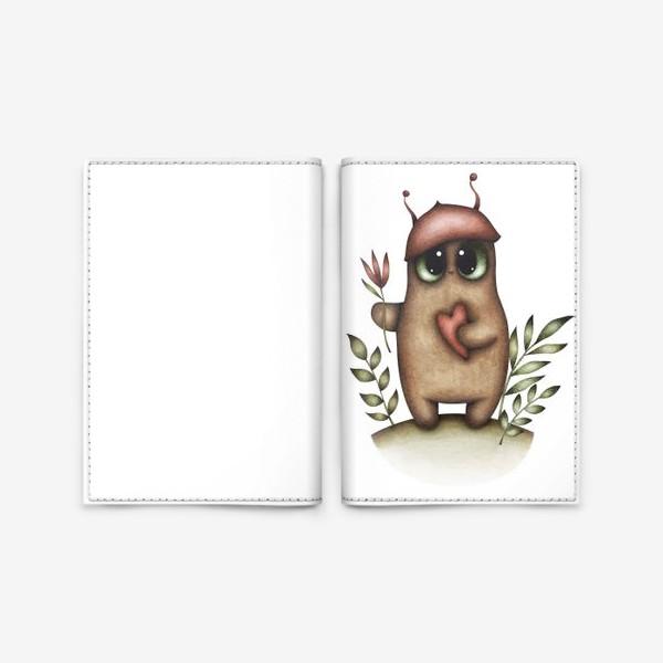 Обложка для паспорта «Сказочный персонаж с сердцем и цветком»