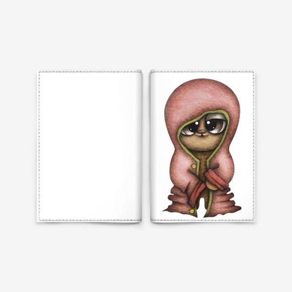 Обложка для паспорта «Смешной персонаж в красной куртке»