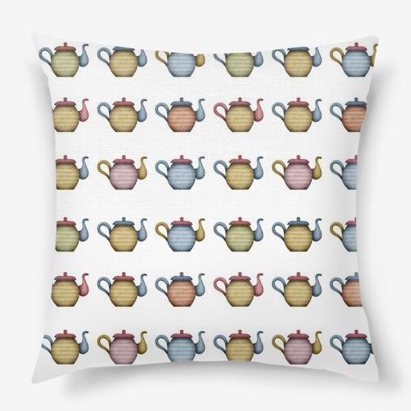 Подушка «Разноцветные чайники»