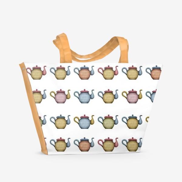 Пляжная сумка «Разноцветные чайники»