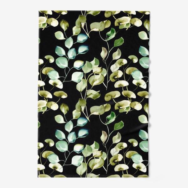 Полотенце «Безшовный акварельный паттерн с нежными листьями на темном фоне»