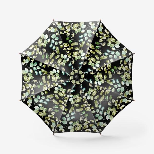 Зонт «Безшовный акварельный паттерн с нежными листьями на темном фоне»