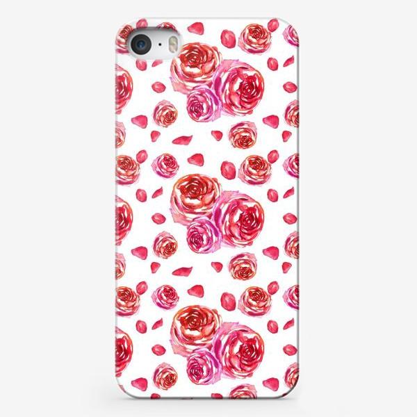 Чехол iPhone «Безшовный акварельный паттерн с нежными розами»