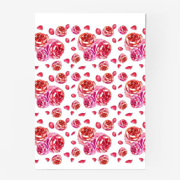 Постер «Безшовный акварельный паттерн с нежными розами»