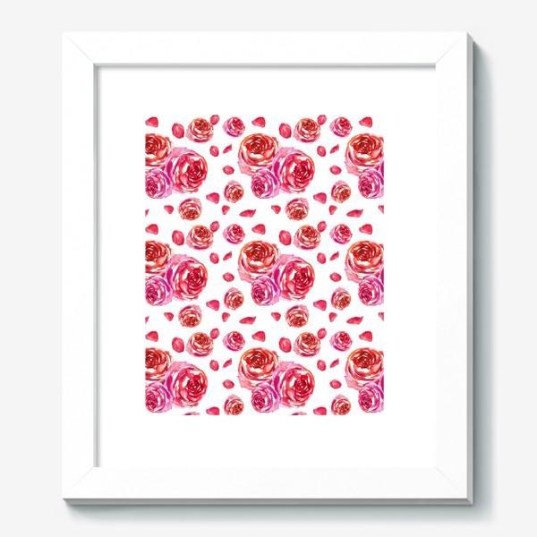 Картина «Безшовный акварельный паттерн с нежными розами»