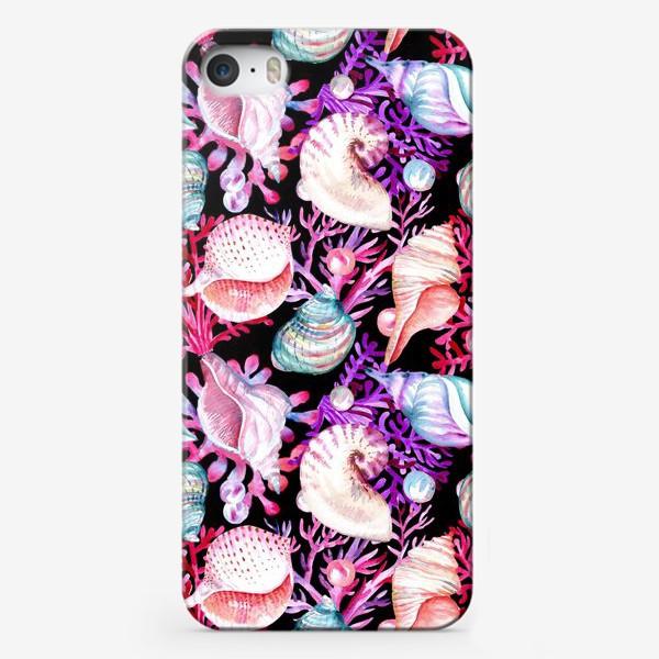 Чехол iPhone «Безшовный акварельный паттерн с морской темой, кораллами и жемчужинами»