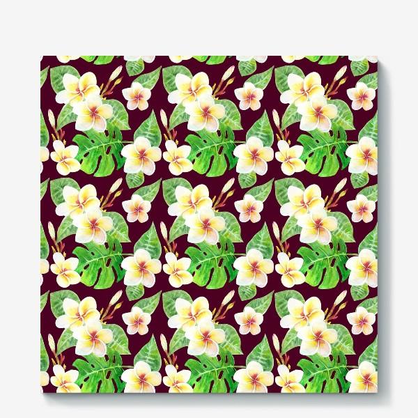 Холст «Безшовный акварельный паттерн с тропическими цветами т листьями»