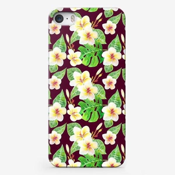 Чехол iPhone «Безшовный акварельный паттерн с тропическими цветами т листьями»