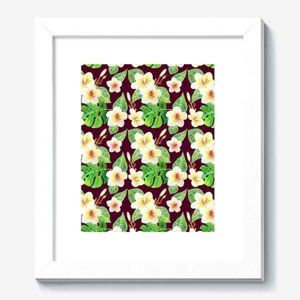 Картина «Безшовный акварельный паттерн с тропическими цветами т листьями»