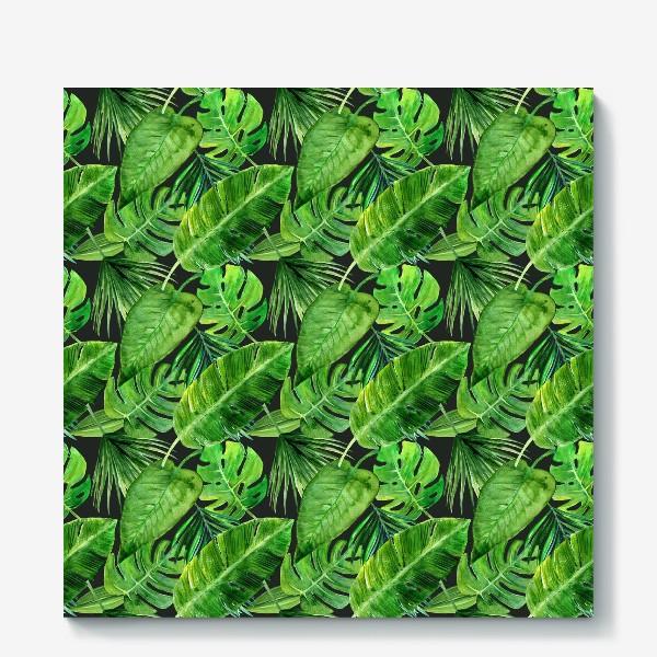 Холст «Безшовный акварельный паттерн с нежными  тропическими листьями»