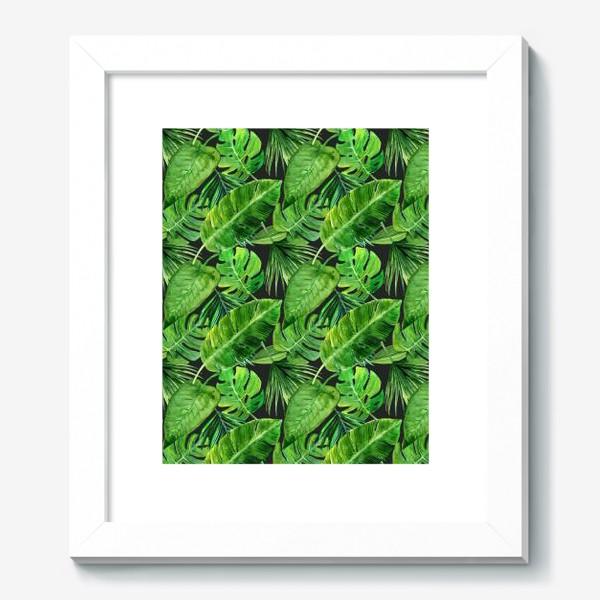 Картина «Безшовный акварельный паттерн с нежными  тропическими листьями»