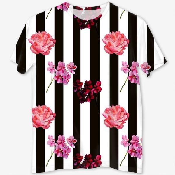Футболка с полной запечаткой «орхидея и пион»